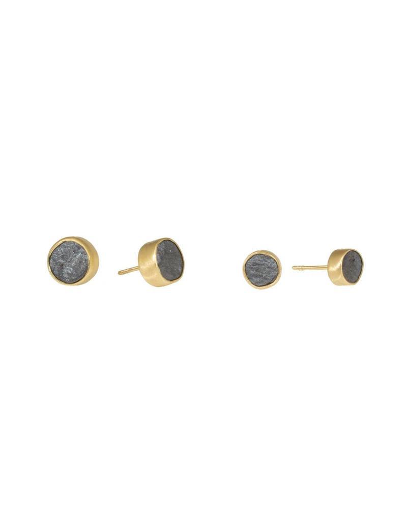Hematite Post Earrings in 18K Yellow Gold - Large