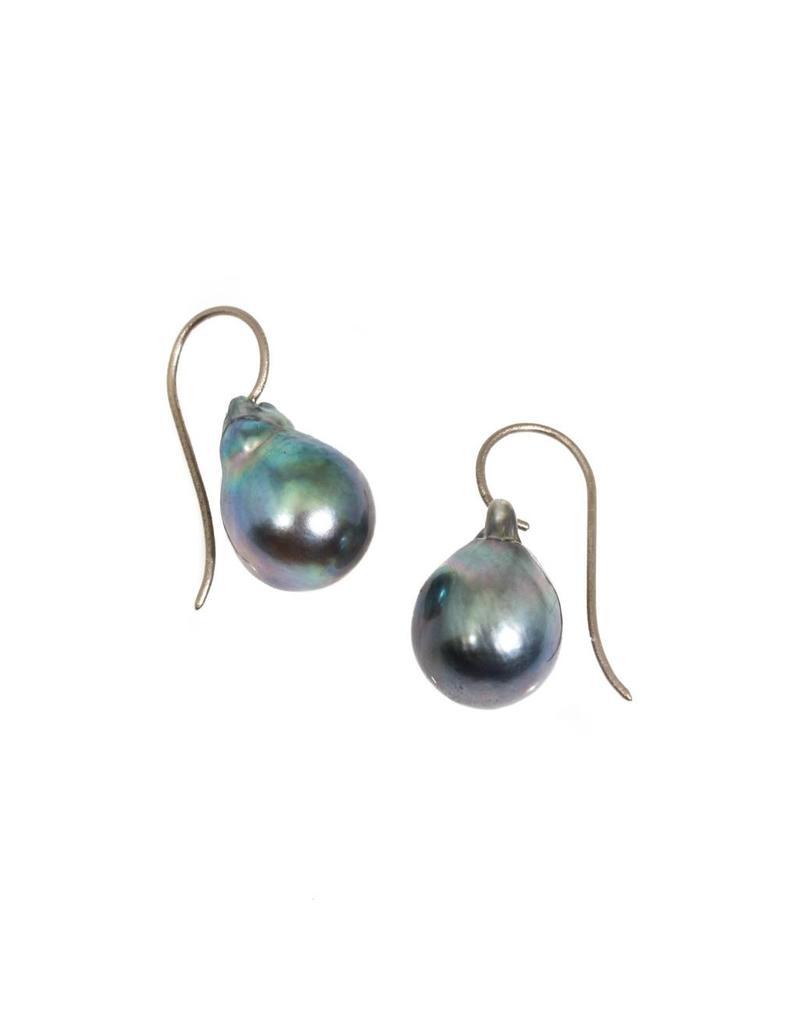 Blue-Grey Baroque Tahitian Pearls on 18k Palladium White Gold Wire