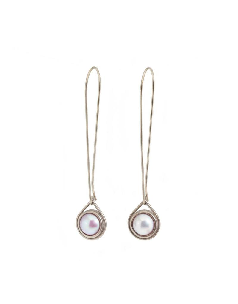Pearl Drop Earrings in 14k Palladium White Gold