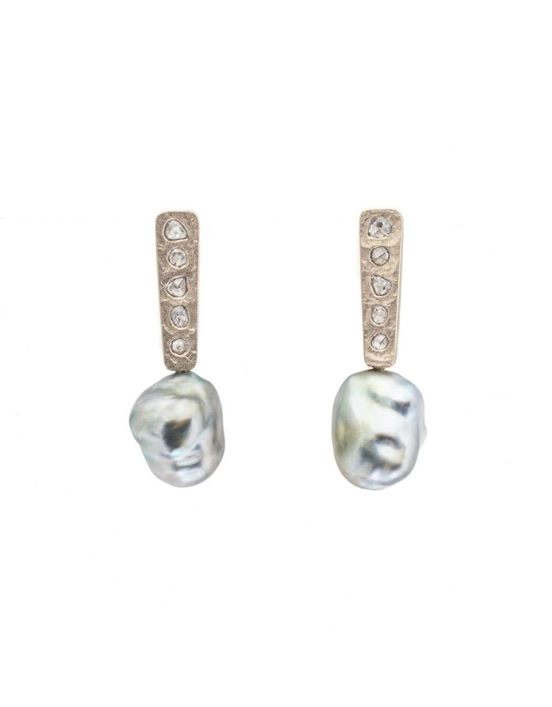 Keshi Pearl Post Dangle Earrings with Salt And Pepper Diamonds in 18k Palladium White Gold