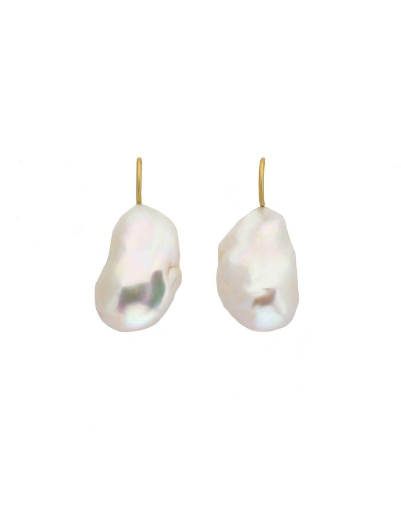 Large White Baroque Pearl Earrings on 18k Gold Earwire