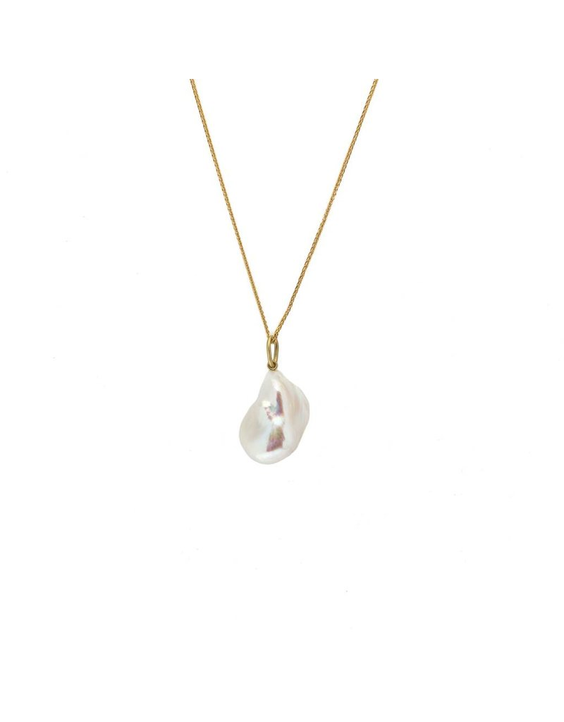 White Baroque Pearl Pendant with 18k Gold Bail