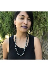 Tahitian Pearl Necklace with Brushed Silver Chain
