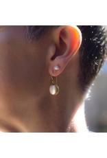 Medium Biwa Pearl Earrings on French Wire in 18k Yellow Gold