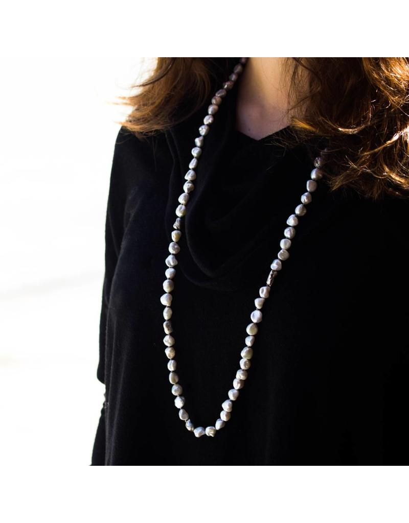 Keshi Pearl Necklace with Gray Diamonds set in Organic Silver Beads
