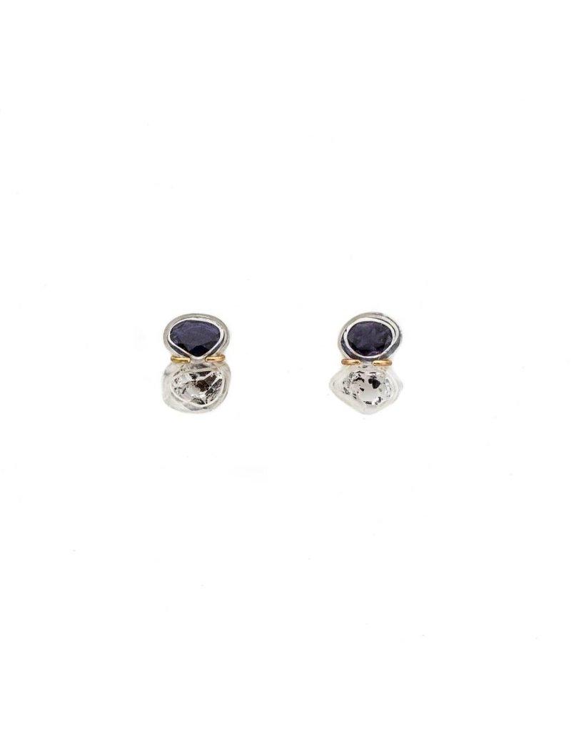 Iolite and Quartz Crystal Post Earrings