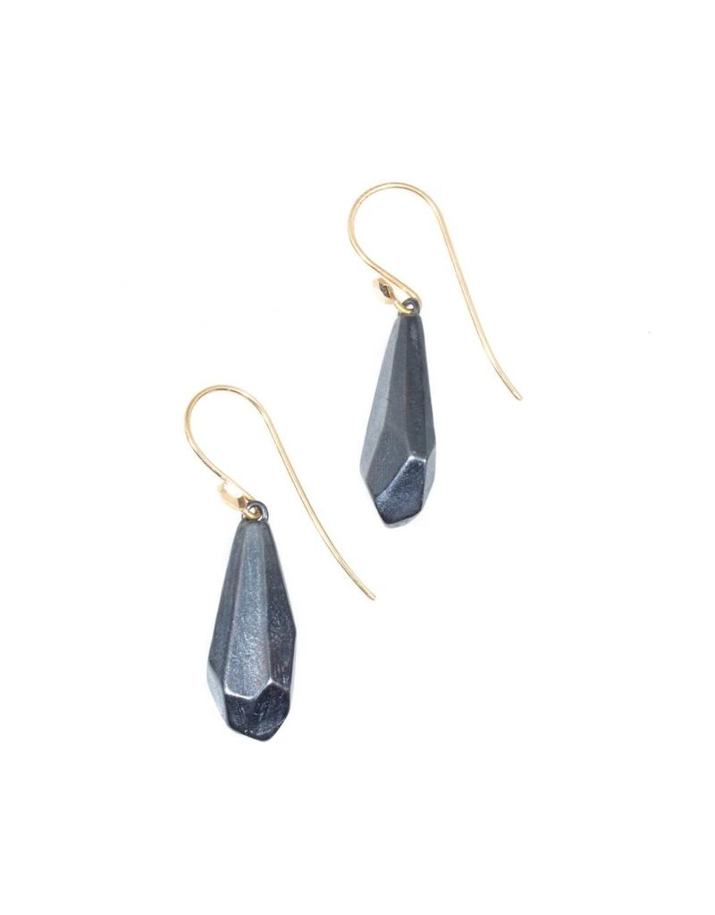 Round Faceted Earrings in Oxidized Silver