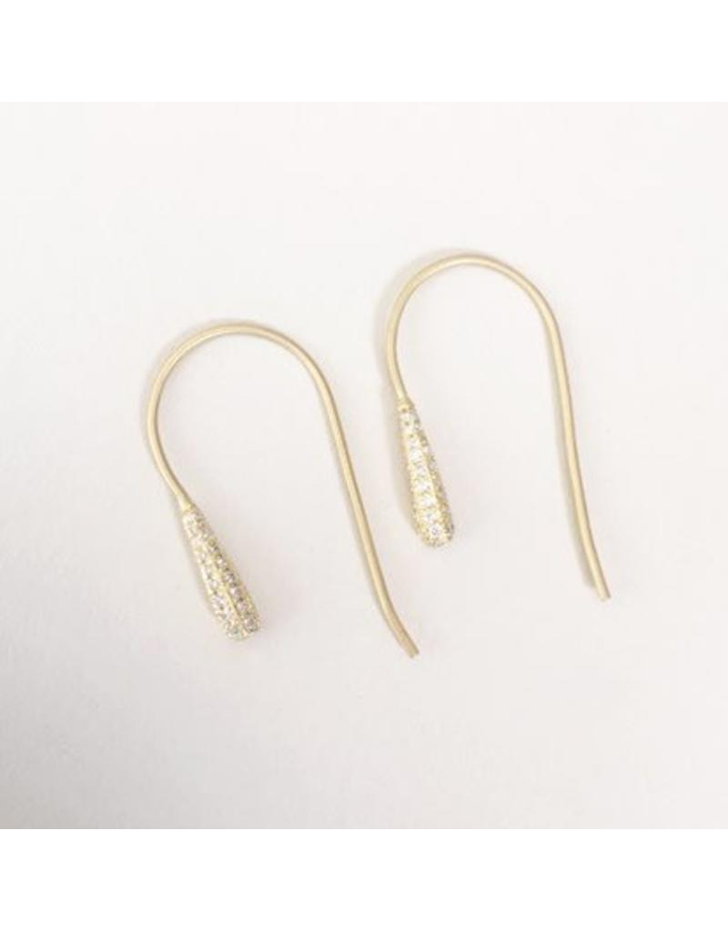 Christina Odegard Rosée Earrings in 18k Yellow Gold with Pavé-Set Diamonds