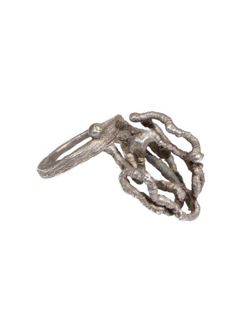 Organic Silver Ring with Diamond