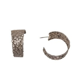 Textured Silver Hoop Earrings