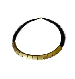 Black Horse Hair Necklace with Gold Findings