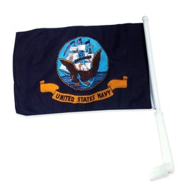 Navy Auto Window Flag