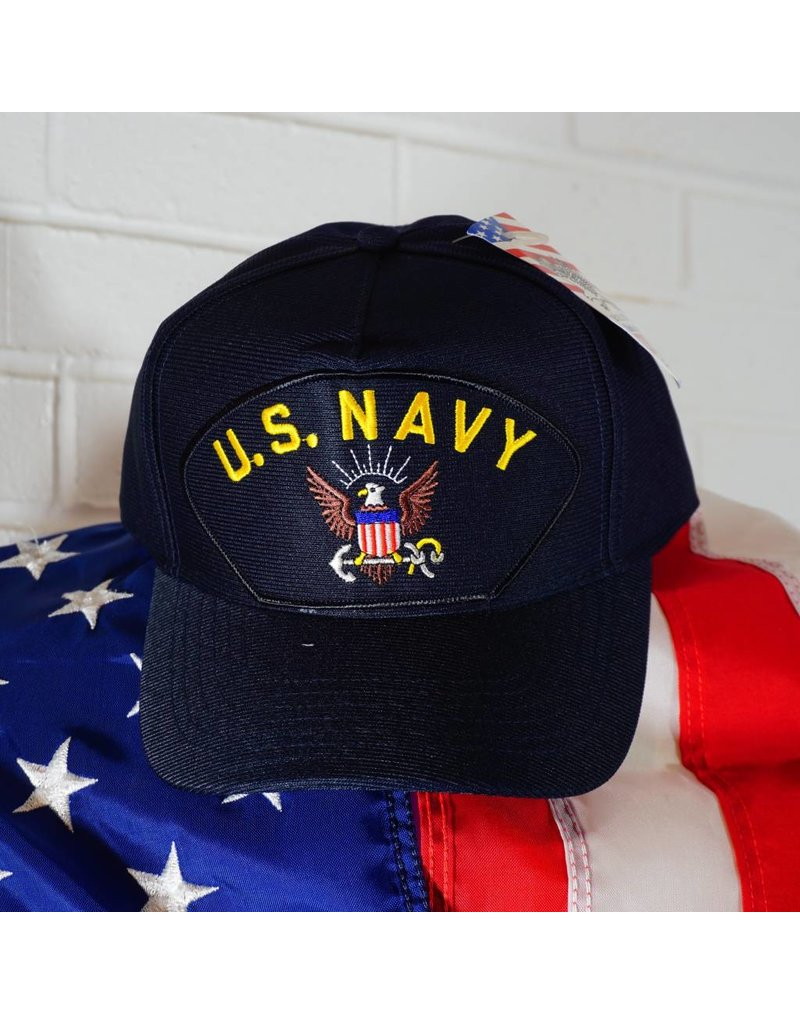 Black w/yellow letters and Eagle Crest Emblematic Baseball Cap (Navy)
