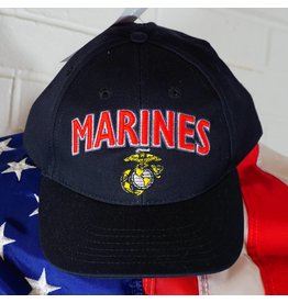 Marine Corps Black with Red and Gold Embroidered Baseball Cap
