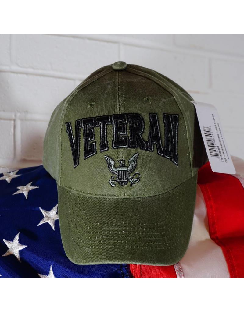 Navy Veteran W/ Eagle & Anchor (OD Green) Baseball Cap