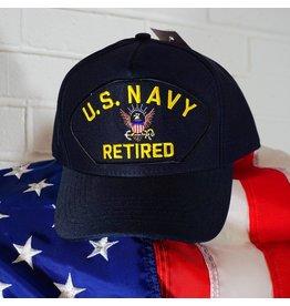 Black w/yellow letters Navy Retired Baseball Cap
