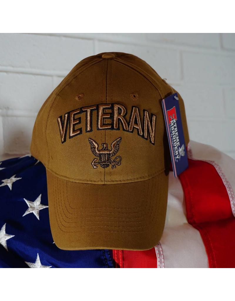 Navy Veteran Eagle & Anchor Baseball Cap (Coyote Brown)