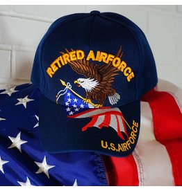 Blue w/yellow letters (Eagle w/ US Flag) Air Force Retired Baseball Cap (VHV)