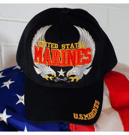Marine Corps Black w/red and yellow letters (double eagles) Baseball Cap (VHV)