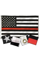 Black and White American Flag with Thin Red Line Nylon FLag