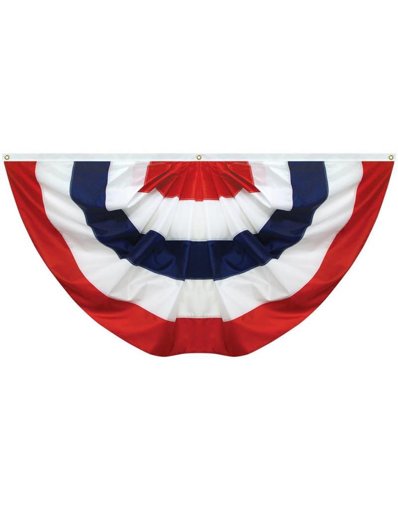 Nylon Stripe Red, White & Blue Pleated Fan