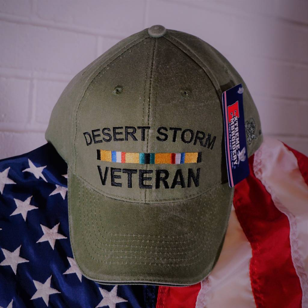 Desert Storm Veteran W Ribbons Baseball Cap Od Green