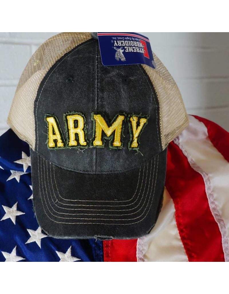 Army Applique Mesh Hat (Grey w/ Gold Ltrs)