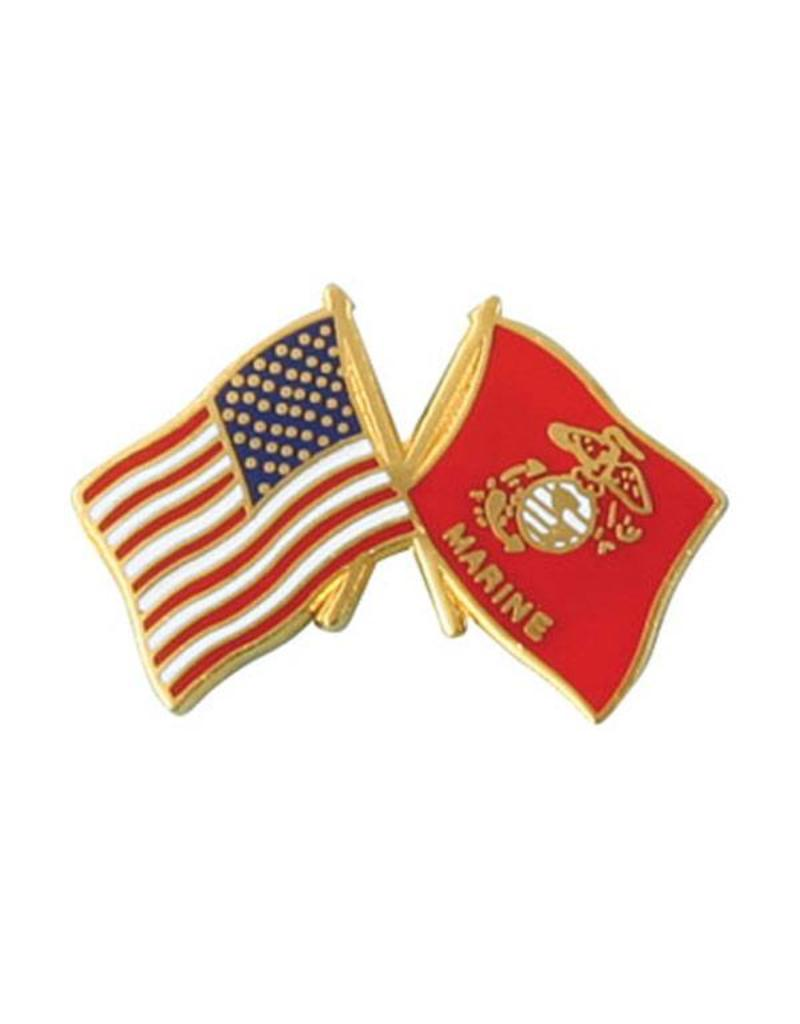 American and Marine Corps Crossed Flags Lapel Pin