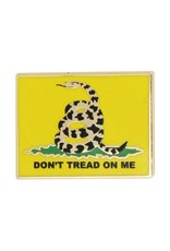 Don't Tread On Me Coiled Snake with Yellow Background  Lapel Pin