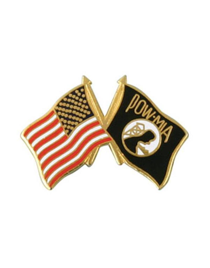 American and POW Crossed Flags Lapel Pin