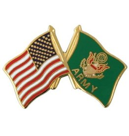 American and Army Crossed Flags Lapel Pin