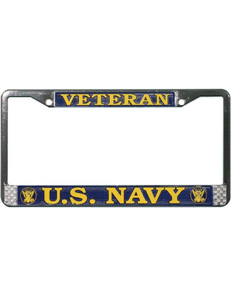 Veteran U.S. Navy in Gold on Blue, Chrome License Plate Frame ...