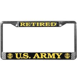 Army Retired Chrome Auto License Plate