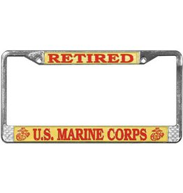 Retired Marine Corps Chrome Auto License Plate