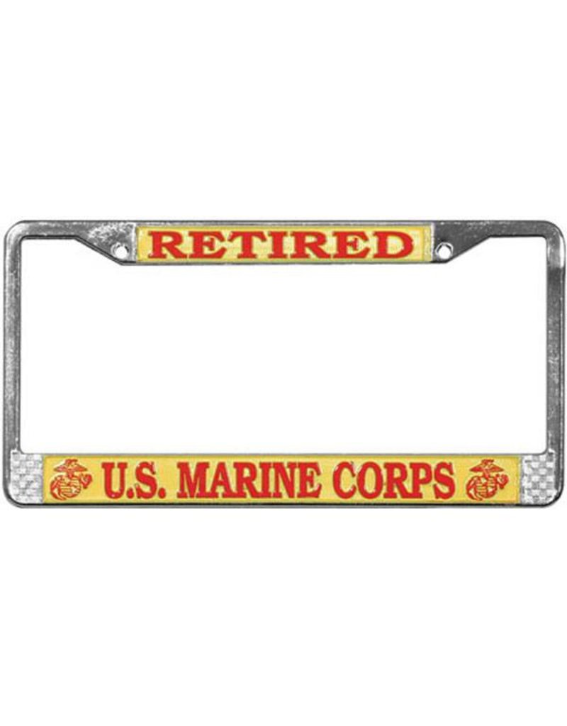 Retired Marine Corps Chrome Auto License Plate