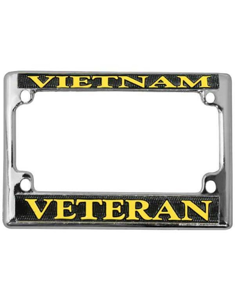 Vietnam Veteran in Gold on Black, Chrome Motorcycle Tag Frame ...