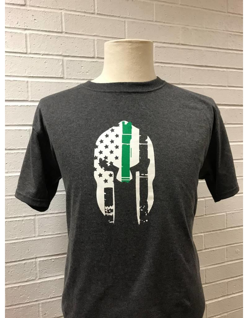 Thin Green Line One Sided Spartan Helmet T-Shirt