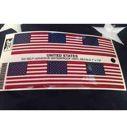 "USA Flag Six Decals 1""x1 1/2"""