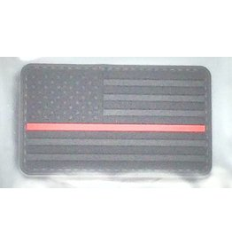 Black U.S. Flag w/Red Stripe w/Hook Back Hat Patch