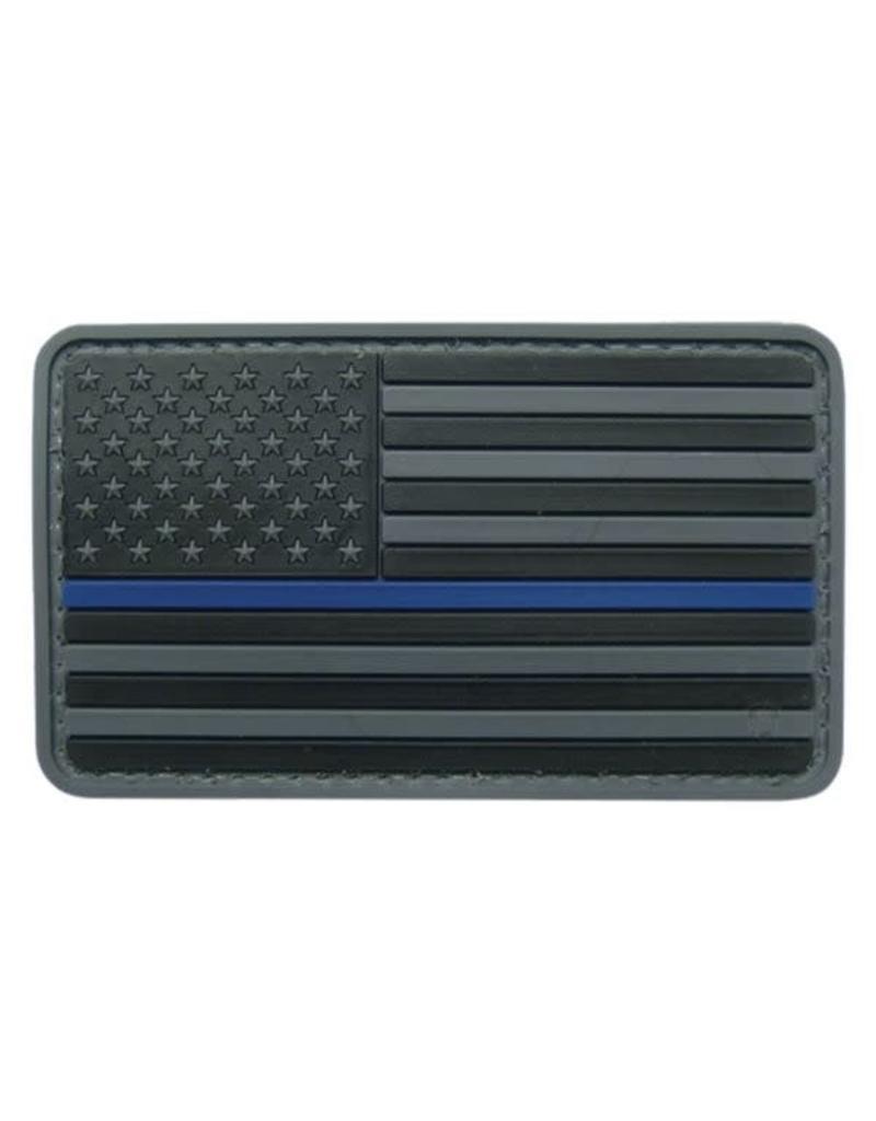 Black U.S. Flag w/Blue Stripe w/Hook Back Hat Patch