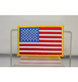 """American Flag with Gold Trim 2.5 x 3.5"""" Patch"""