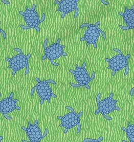Fabric Finders FF 2103 BLUE TURTLES ON GREEN