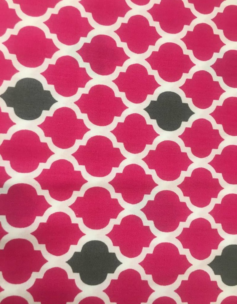 Fabric Finders HOT PINK/ GREY QUATREFOIL - small
