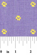 Fabric Finders 2153 FF PURPLE MICROCHECK GOLD PAW