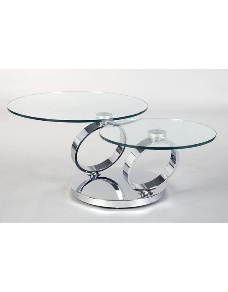 Creative Home Decor Rings Swivel Coffee Table Silver