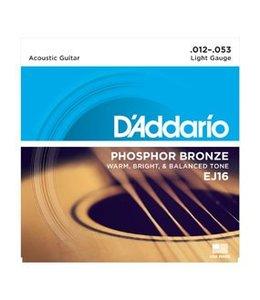 D'ADDARIO EJ16 Phosphor Bronze, Light, 12-53