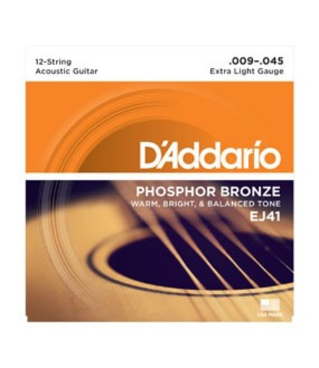 D'ADDARIO D'ADDARIOEJ41 12-String Phosphor Bronze, Extra Light, 9-45