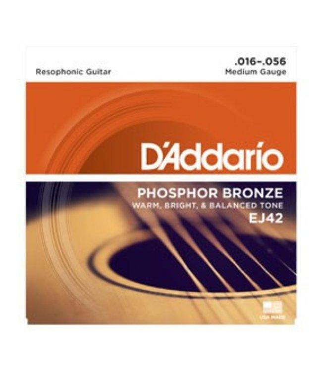 D'ADDARIO D'Addario EJ42 Phosphor Bronze Resophonic Guitar Strings, 16-56