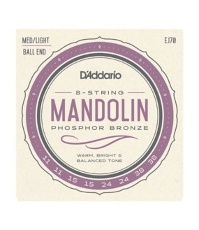 D'ADDARIO D'ADDARIO EJ70 MANDOLIN PB LITE BALL END