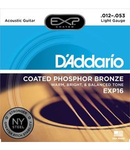 D'ADDARIO EXP16 Coated Phosphor Bronze Acoustic Guitar, Light, 12-53